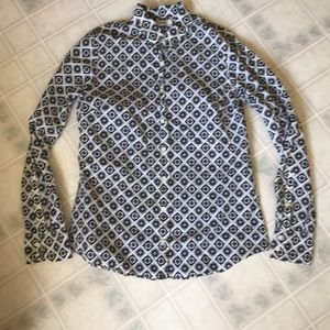 J Crew perfect Shirt Medallion Print Buttondown